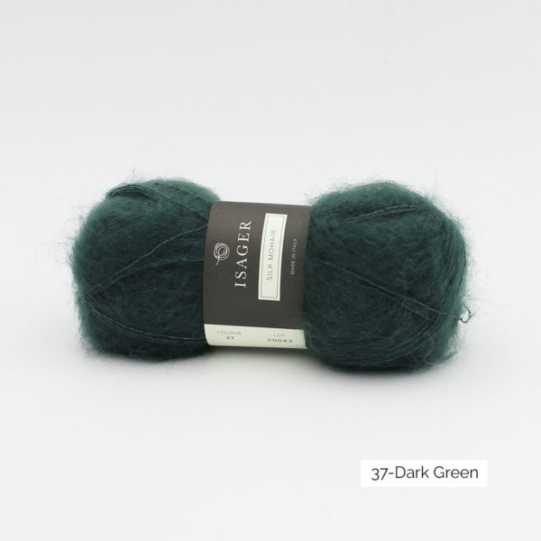 A ball of Isager's Silk Mohair in the Dark Green colorway