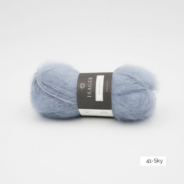 A ball of Isager's Silk Mohair in the Sky colorway