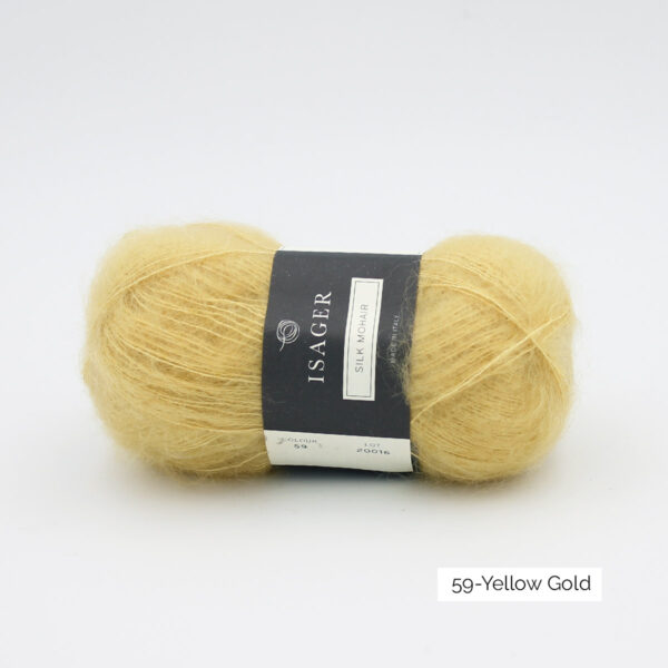 A ball of Isager's Silk Mohair in the Yellow Gold colorway