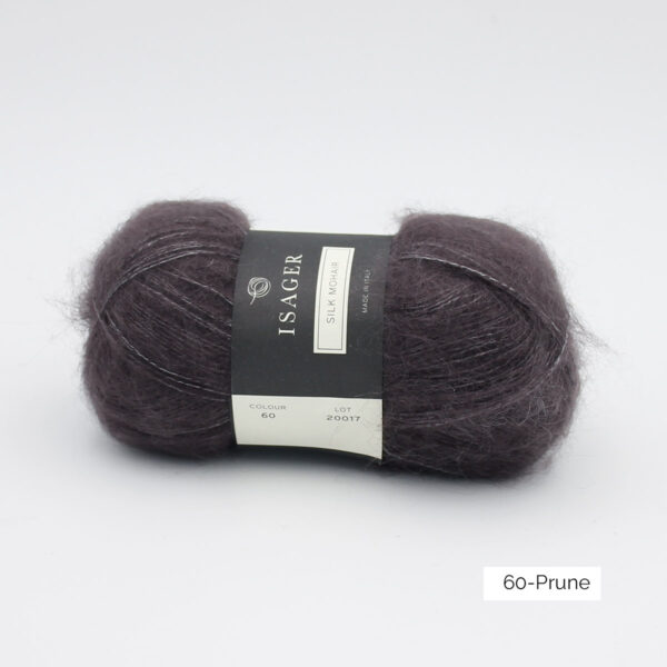 A ball of Isager's Silk Mohair in the Prune colorway