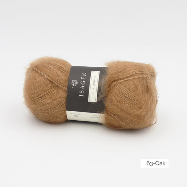 A ball of Isager's Silk Mohair in the Oak colorway