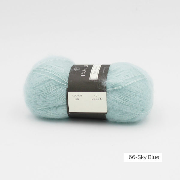 A ball of Isager's Silk Mohair in the Sky Blue colorway