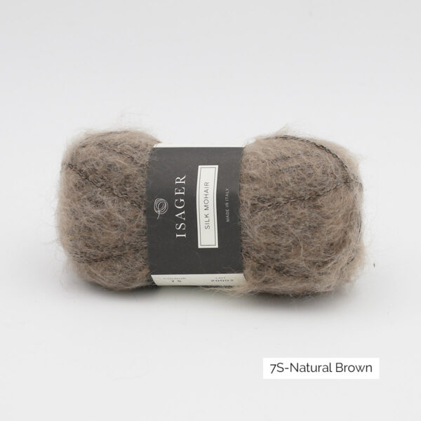 A ball of Isager's Silk Mohair in the Natural Brown colorway