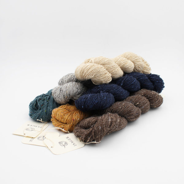 6 skeins of Isager's Tweed in assorted colours