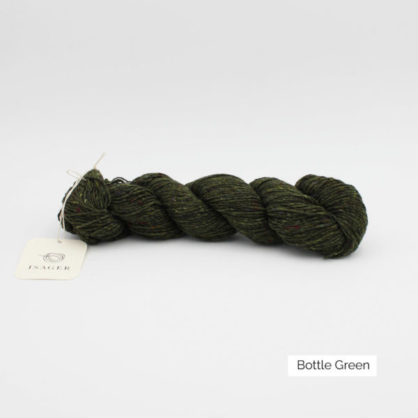 A skein of Isager's Tweed in the Bottle Green colorway