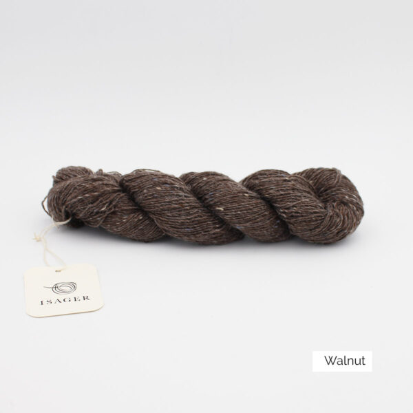 A skein of Isager's Tweed in the Walnut colorway