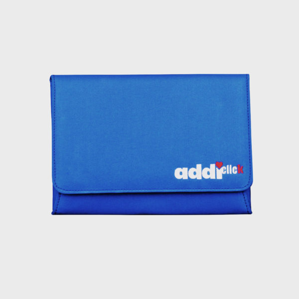 Display of the front of the blue fabric case of the Addi Novel interchangeable needles set