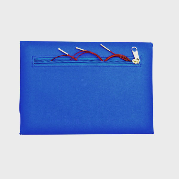 Display of the back of the blue fabric case of the Addi Novel interchangeable needles set with its zippered pocket
