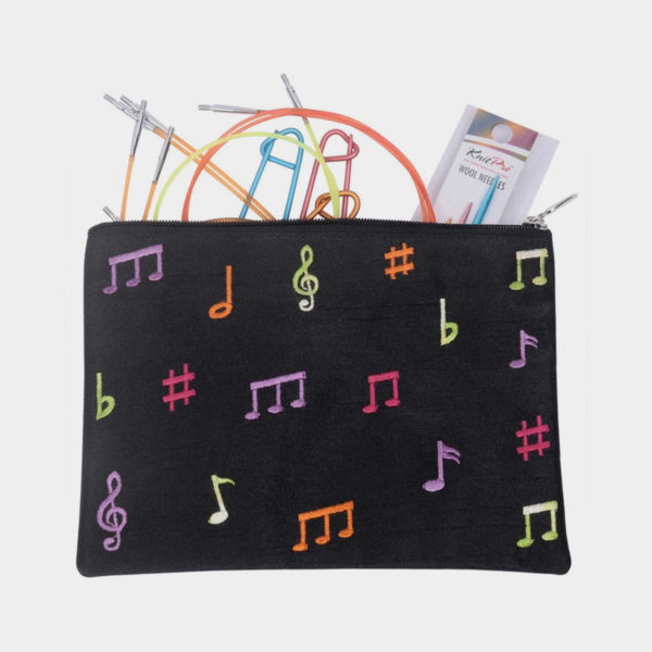 Display of Knit Pro's Melodies of Life accessories pouch, in black fabric with musical symbol printed in bright colours