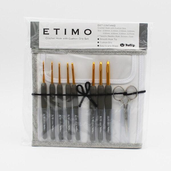Présentation du kit de crochets Etimo gris de Tulip et de ses accessoires et pochette, dans leur emballage