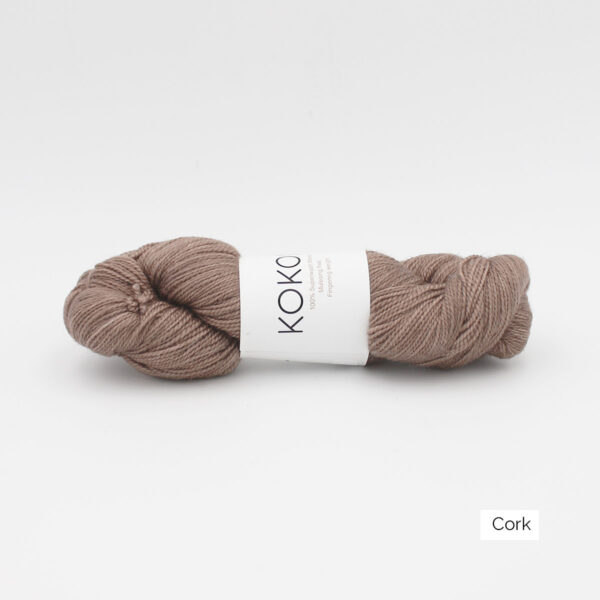 A skein of Kokon's Merino Fingering in the Cork colorway