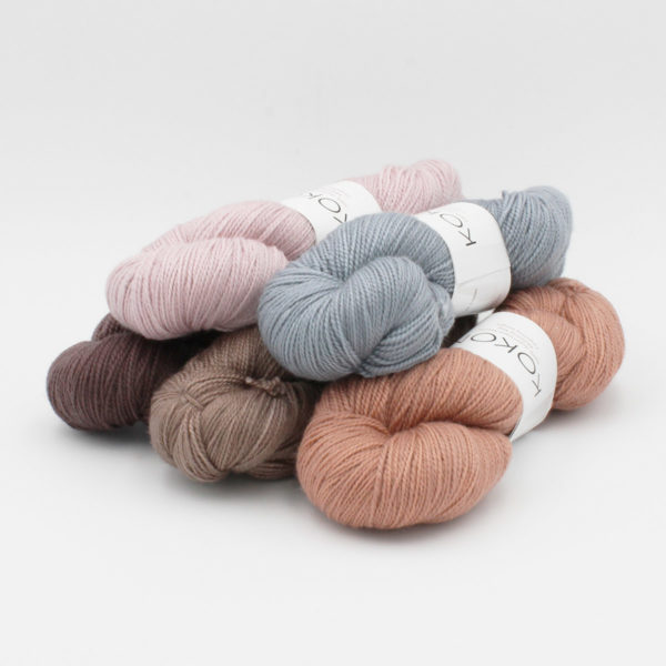 Five skeins of Kokon's Merino Fingering in assorted colorways