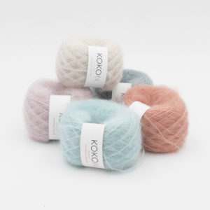 Five balls of Silk Mohair by Kokon in assorted colorways