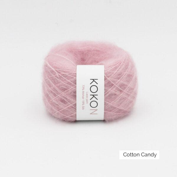 Une pelote de Silk Mohair de Kokon coloris Cotton Candy (rose)