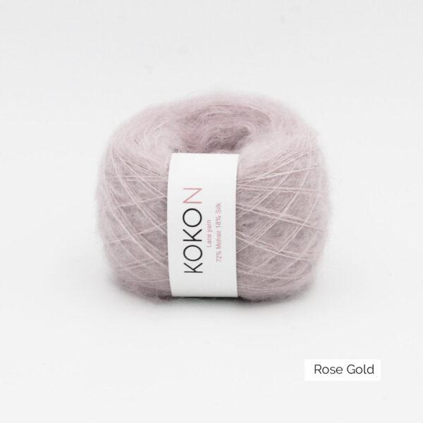 Une pelote de Silk Mohair de Kokon coloris Rose Gold