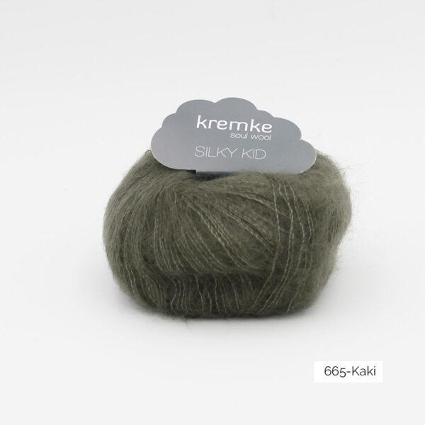 A ball of Silky Kid by Kremke Soul Wool in the Kaki colorway