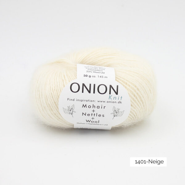 A ball of Onion's Mohair + Nettles + Wool in the Neige colorway (white)