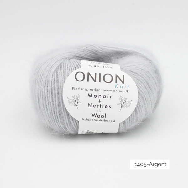 A ball of Onion's Mohair + Nettles + Wool in the Argent colorway (silvery grey)