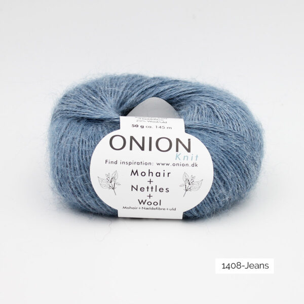 A ball of Onion's Mohair + Nettles + Wool in the Jeans colorway