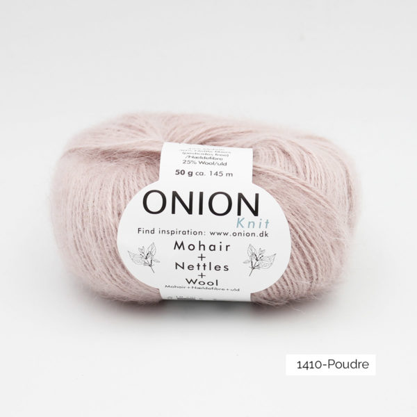 A ball of Onion's Mohair + Nettles + Wool in the Poudre colorway (cold light pink)