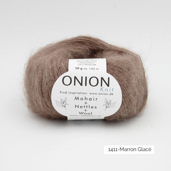 A ball of Onion's Mohair + Nettles + Wool in the Marron Glacé colorway (cold light brown)