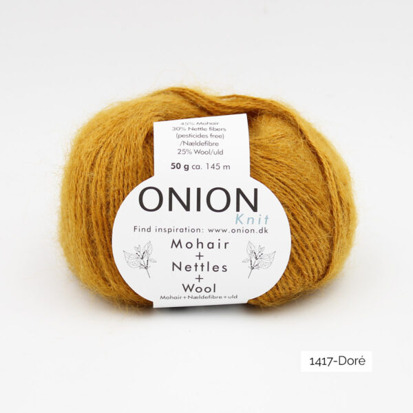 A ball of Onion's Mohair + Nettles + Wool in the Doré colorway (golden yellow)