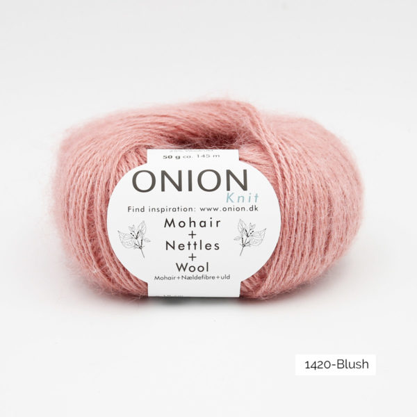 A ball of Onion's Mohair + Nettles + Wool in the Blush colorway