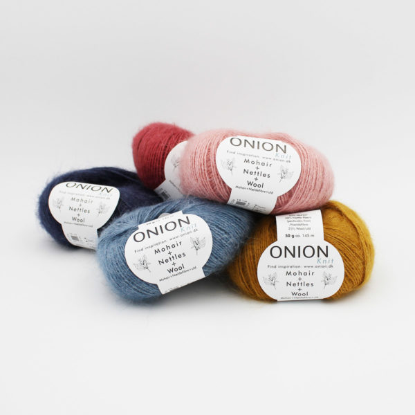 5 balls of Onion's Mohair + Nettles + Wool in assorted colorways