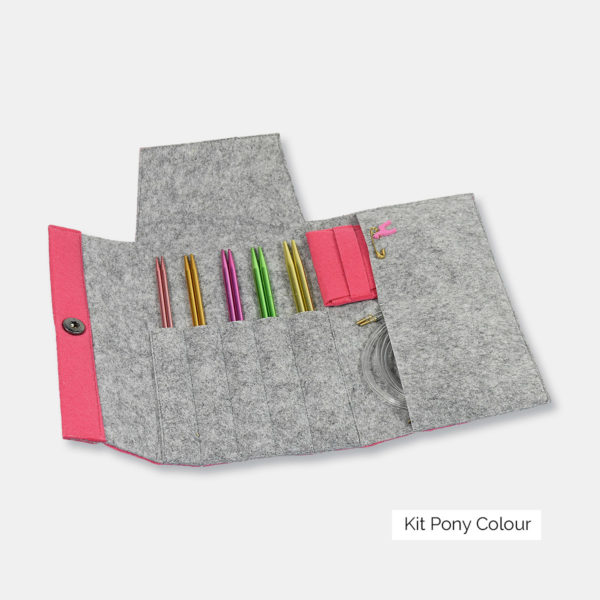 Display of a set of Pony interchangeable circular needles of the Colour type, with aluminum tips, in a pink and grey felted wool case