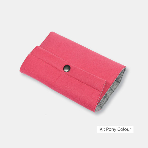 Display of the Pony Colour interchangeable needles set felted wool case, closed