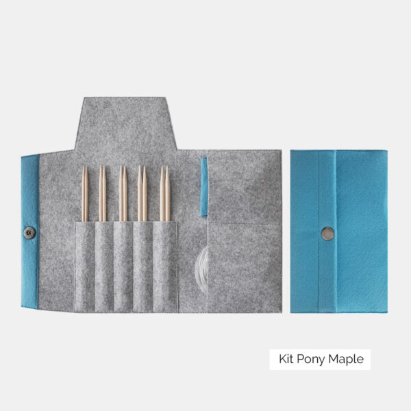 Display of a set of Pony interchangeable circular needles of the Maple type, with maple wood tips, in a grey and sky blue felted wool case