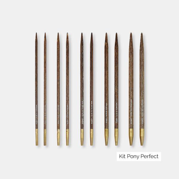 Présentation des pointes d'aiguilles circulaires interchangeables Pony Perfect en bois laminé