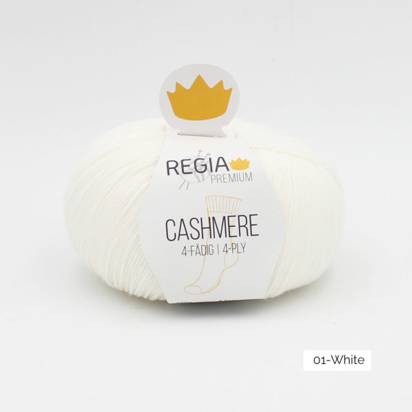 Une pelote de Regia Cashmere Premium, laine à chaussettes avec cachemire, en coloris White (blanc)