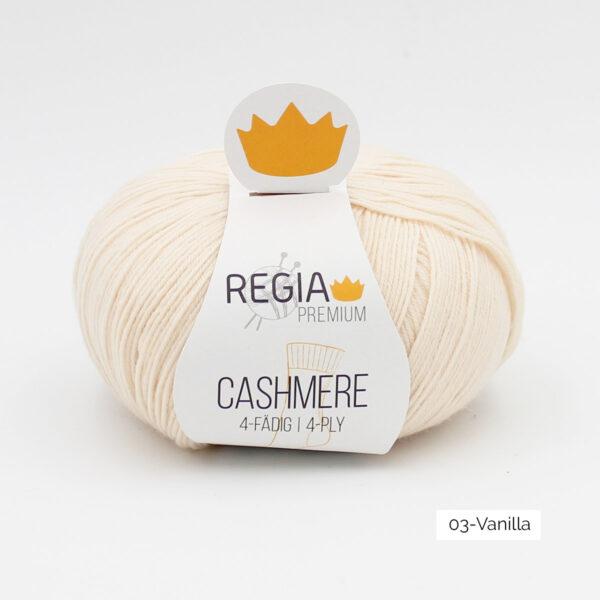 Une pelote de Regia Cashmere Premium, laine à chaussettes avec cachemire, en coloris Vanilla (jaune très clair)