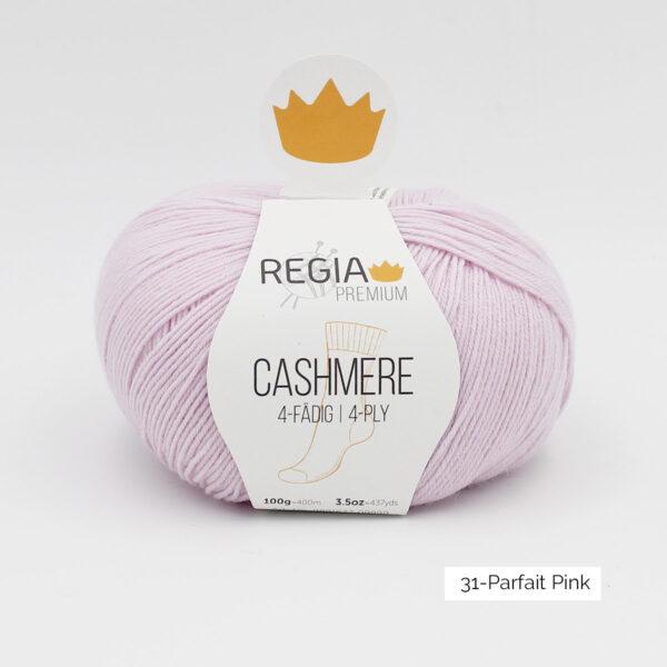 Une pelote de Regia Cashmere Premium, laine à chaussettes avec cachemire, en coloris Parfait Pink (rose très clair)