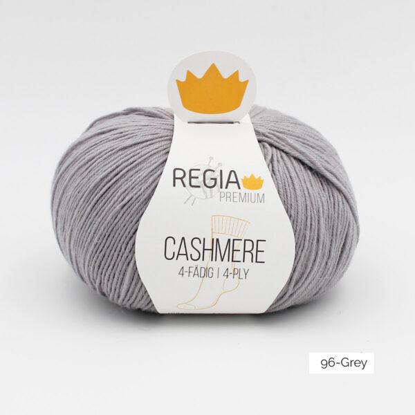 Une pelote de Regia Cashmere Premium, laine à chaussettes avec cachemire, en coloris Grey (gris moyen)