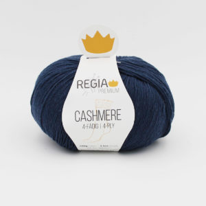 A ball of Regia Cashmere Premium, sock yarn, in the Evening Blue colorway
