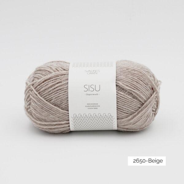 Une pelote de Sisu de Sandnes Garn, laine à chaussettes, dans le coloris Beige