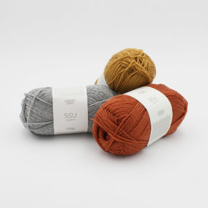 3 balls of Sandnes Garn Sisu sock yarn in assorted colours