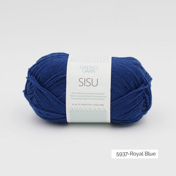 Une pelote de Sisu de Sandnes Garn, laine à chaussettes, dans le coloris Royal Blue (bleu roi)
