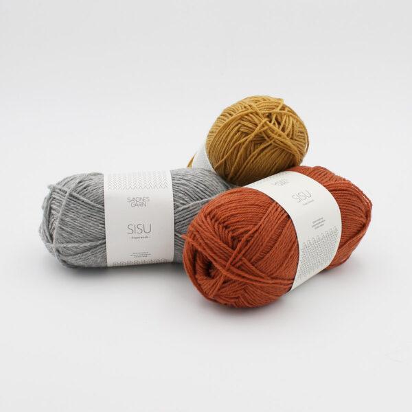3 pelotes de laine à chaussettes Sandnes Garn Sisu en coloris assortis