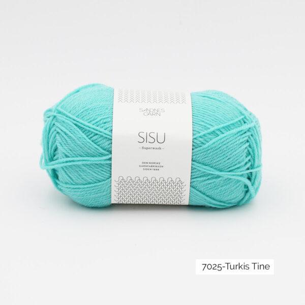 Une pelote de Sisu de Sandnes Garn, laine à chaussettes, dans le coloris Turkis Tine (turquoise clair)