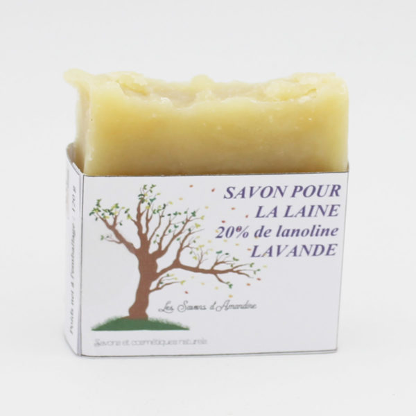 Display of a natural soap made to handwash wool items of the brand Les Savons d'Amandine