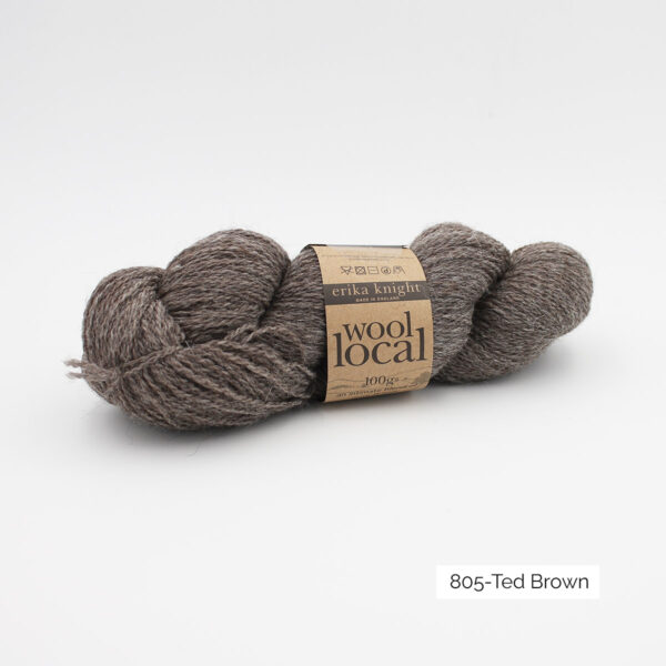 A skein of Erika Knight's Wool Local in the Ted Brown colorway (natural dark brown)