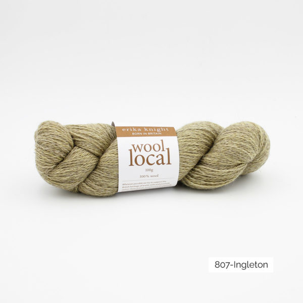 A skein of Erika Knight's Wool Local in the Ingleton colorway (creamy beige)