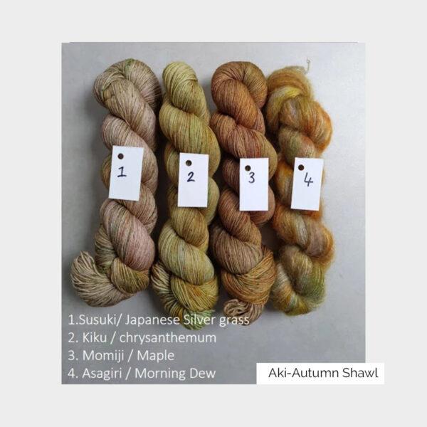 Détail des laines incluses dans le kit du châle Aki Fuyu designé par Eri Shimizu avec les laines Kokon dans la version Aki (automne)