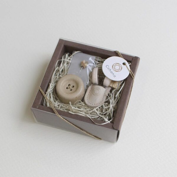 Display of the Christmas special edition of Cohana's mini sewing set in its packaging