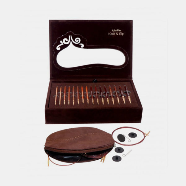 Display of Knit Pro's coffee themed special edition set of interchangeable circular needles, with the needle tips and accessories in velvet cases