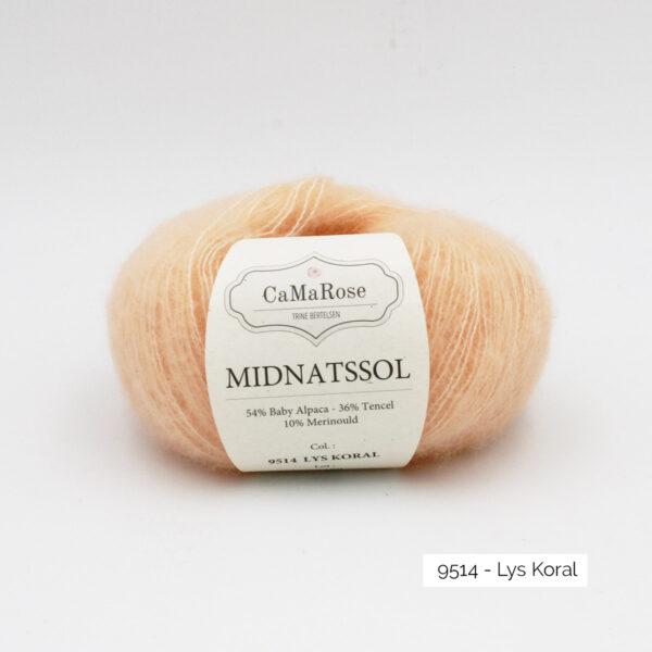 Une pelote de Midnatssol de CaMaRose coloris Lys Koral (corail clair)