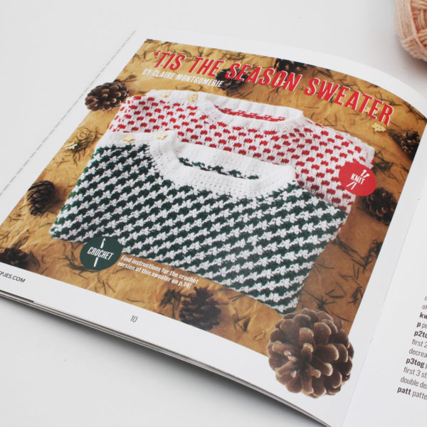 A photo of the 'Tis the Season Sweater by Claire Montgomerie, published in the n°10 magazine of Pretty Little Things by Scheepjes